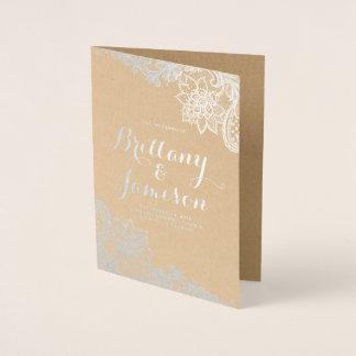 Cartão Metalizado Programa do casamento de Kraft do vintage do laço