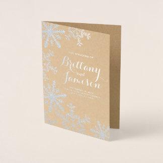 Cartão Metalizado Programa do casamento no inverno de Kraft do floco