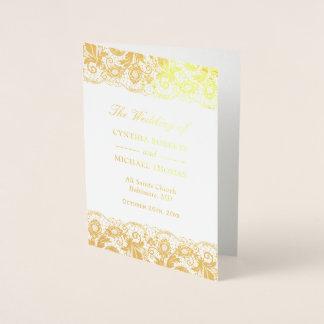 Cartão Metalizado Programa do casamento tema damasco do laço do