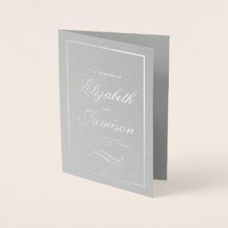 Cartão Metalizado Programa elegante clássico do casamento da folha