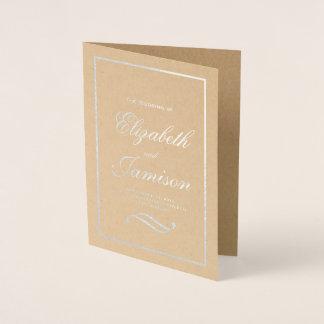 Cartão Metalizado Programa elegante clássico do casamento de Kraft