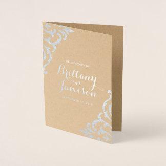 Cartão Metalizado Programa elegante do casamento de Kraft do damasco