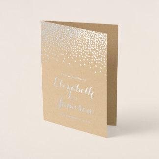 Cartão Metalizado Programa moderno do casamento de Kraft dos