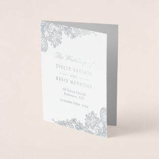 Cartão Metalizado Programa real do casamento das cinzas de prata da