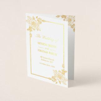 Cartão Metalizado Programa real floral do casamento da folha de ouro