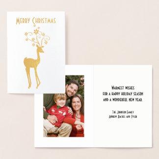 Cartão Metalizado Rena do Natal com Antlers do floco de neve