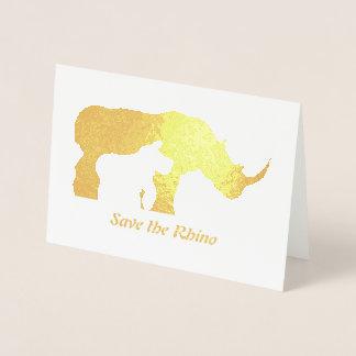 Cartão Metalizado Rinoceronte preto e branco
