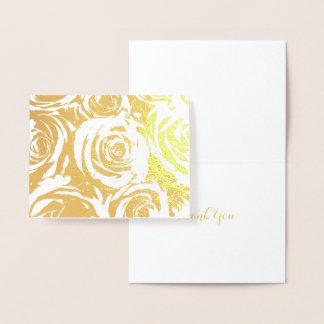 Cartão Metalizado Rosas elegantes do ouro