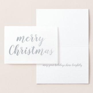 Cartão Metalizado Roteiro da escova da folha de prata do Feliz Natal