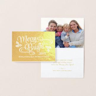 Cartão Metalizado Roteiro escrito à mão do Natal alegre e brilhante