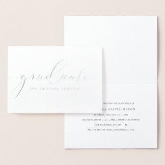 Cartão Metalizado Roteiro graduado elegante moderno (folha real)