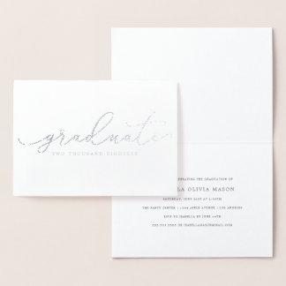 Cartão Metalizado Roteiro graduado escrito à mão elegante (folha