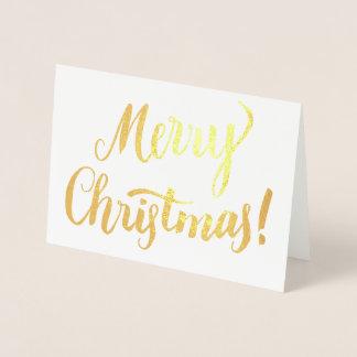 Cartão Metalizado Roteiro moderno da tipografia do Feliz Natal