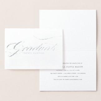 Cartão Metalizado Roteiro real graduado elegante da folha