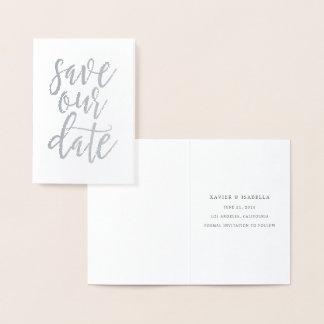 Cartão Metalizado Salvar nosso estilo real 3 do roteiro da folha da