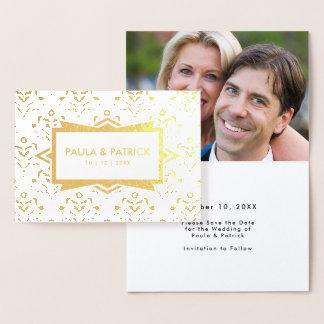 Cartão Metalizado Salvar o art deco do ouro do noivado da data