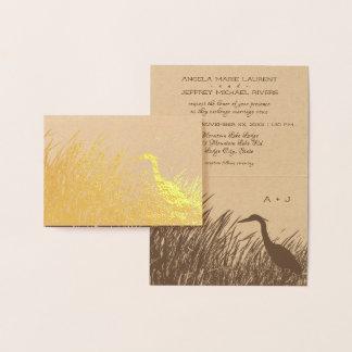 Cartão Metalizado Silhueta uma da garça-real com casamento rústico