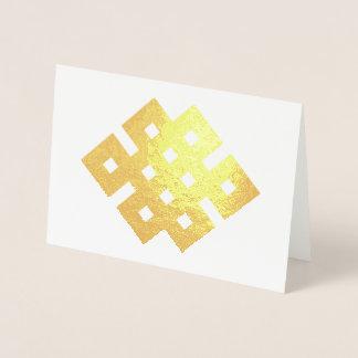 Cartão Metalizado Símbolo infinito do budista do nó do nó auspicioso