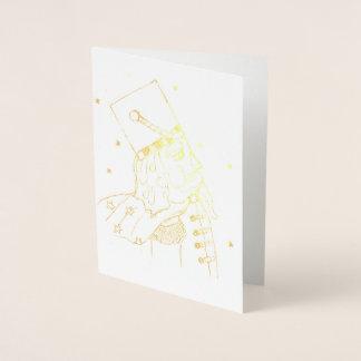 Cartão Metalizado Soldado de brinquedo na folha de ouro