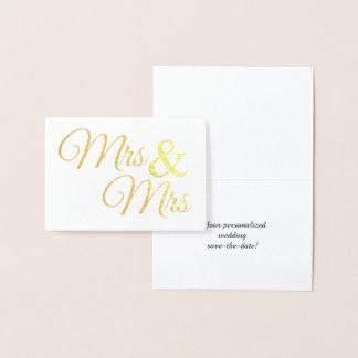 Cartão Metalizado Sr. do ouro & Sra. Palavra Arte Salvamento a data