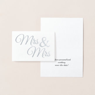 Cartão Metalizado Sr. & Sra. de prata Palavra Arte Salvamento a data