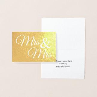 Cartão Metalizado Sr. & Sra. Palavra Arte Salvamento o ouro da data
