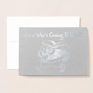 Cartão Metalizado Suposição de Papai Noel que está vindo ao Natal da