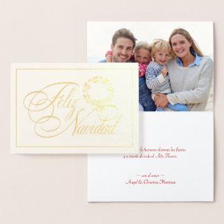 Cartão Metalizado Tarjetas do Natal de Feliz Navidad - feriado