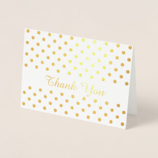 Cartão Metalizado Teste padrão de bolinhas do ouro no obrigado