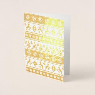 Cartão Metalizado Teste padrão nórdico do feriado do Natal acolhedor