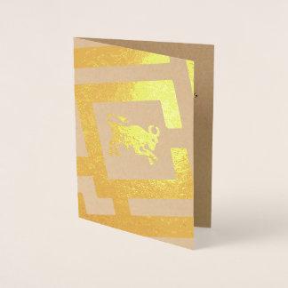 Cartão Metalizado Texto astrológico do costume da decoração da folha