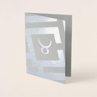 Cartão Metalizado Texto astrológico do costume da decoração da prata
