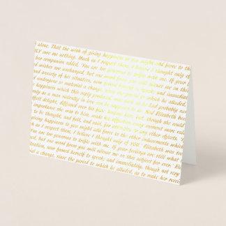 Cartão Metalizado Texto do ouro da folha do orgulho e do preconceito