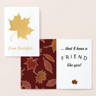 Cartão Metalizado Texto grato do costume das folhas de outono da