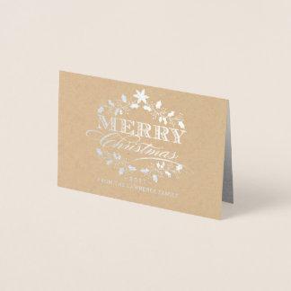 Cartão Metalizado Tipografia do vintage da grinalda do azevinho do