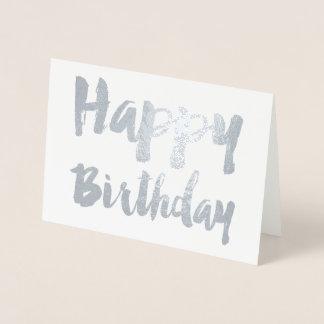 Cartão Metalizado Tipografia moderna do feliz aniversario de folha