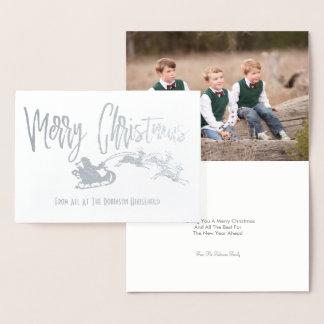 Cartão Metalizado Trenó personalizado do papai noel do Feliz Natal