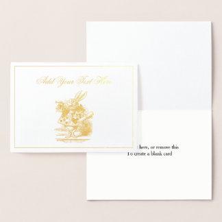 Cartão Metalizado Trompetista branca Alice da corte do coelho no
