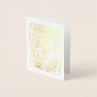 Cartão Metalizado Unicórnio fantástico da floresta