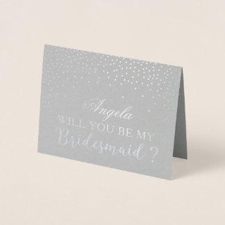Cartão Metalizado Você será meus pontos modernos da folha de prata