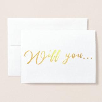 Cartão Metalizado Você será minha dama de honra, proposta da