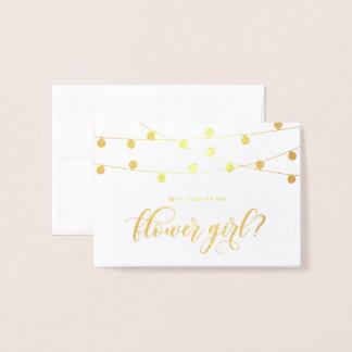 Cartão Metalizado Você será minha folha de ouro das luzes da corda