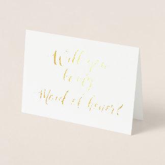 Cartão Metalizado Você será minha mão da madrinha de casamento