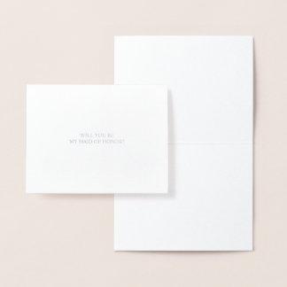 Cartão Metalizado Você será minha prata da madrinha de casamento |
