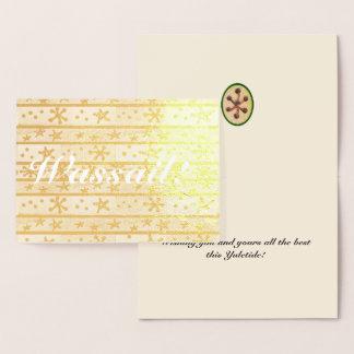 Cartão Metalizado Wassail deseja que os feriados de inverno de Yule