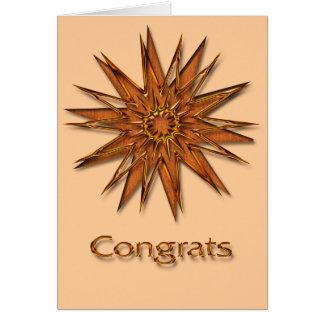 Cartão Metallica brilhante e cetim Starburst Congrats