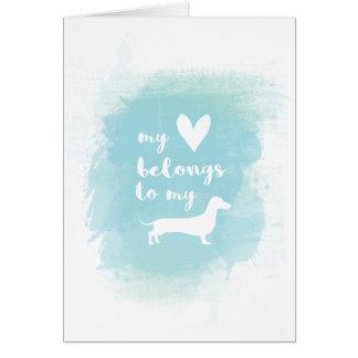 Cartão Meu coração pertence a meu watercolo da caligrafia