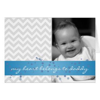 Cartão meu coração pertence à viga do pai com fita azul