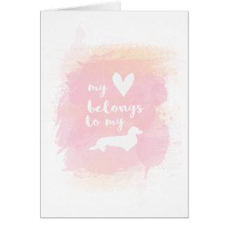 """Cartão """"Meu coração pertence caligrafia cor-de-rosa aos"""