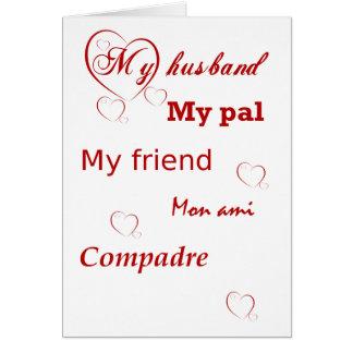 Cartão Meu marido com os namorados vermelhos dos corações